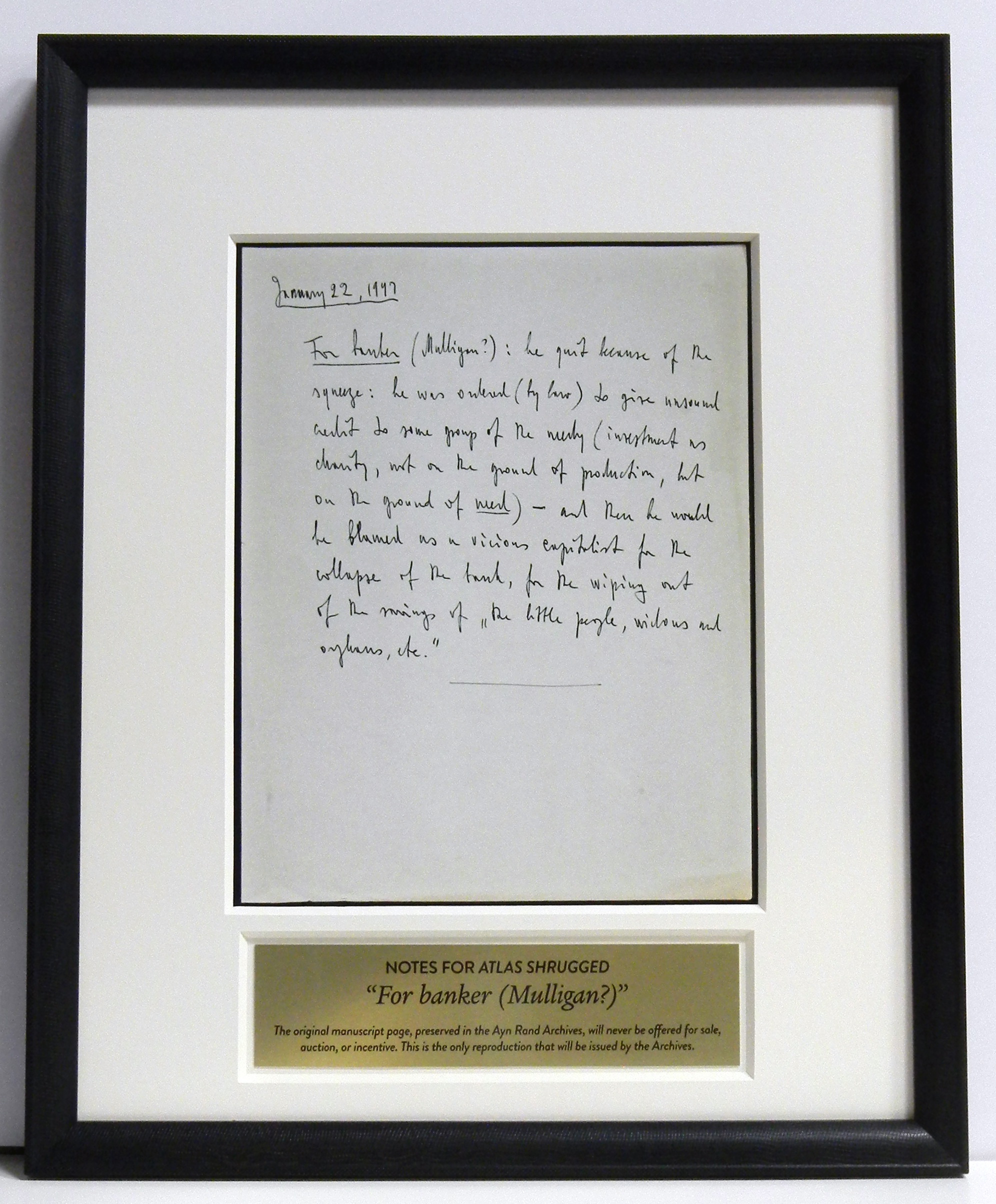 atlas shrugged revolution dinner auction online registration only one that will ever be offered by the ayn rand archives thus this single reproduction is the closest anyone can ever come to owning the original